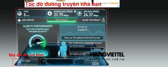 kiểm tra tốc độ mạng Viettel, FPT, VNPT